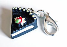 CAKE SLICE BLACK LUCITE CLIP ON CHARM