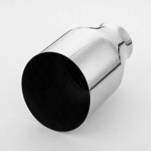 """5"""" Out Exhaust Tip Angle Cut 2.91"""" Inlet 7.48"""" Long Single Wall Stainless Steel"""