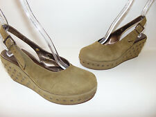 CORDANI SUEDE LEATHER STUDDED WEDGE SIZE US 7.5 EUR 38 HOT RARE MADE IN ITALY