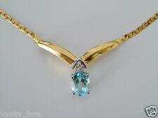 BELLA 9ct Oro Blu TOPAZIO & Collana di diamanti