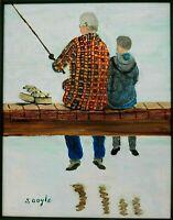 "M.JANE DOYLE SIGNED ORIG.ART OIL/CANVAS PAINTING""DAD & ME""(PORTRAIT~FISHING)FR."