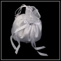 FLOWER GIRLS -DOLLY BAG- WHITE SATIN DIAMANTÉ RHINESTONE-BRIDESMAID-WEDDINGS