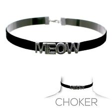 Women's Black Gray Meow Suede Choker Cat Costume Collar Necklace Accessory Sexy