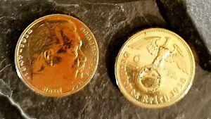 2 Reichsmark 1938 Motiv:Adler mit HK   24 Karat vergoldet in Kapsel