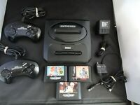 Sega Genesis Console Game Lot Of 8 Console MK-1631 Controllers  3 Games Paperboy