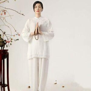 Women Kung Fu Tai Chi Martial Arts Yoga Buddhist Suit lounge Linen UK seller 14