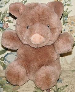 "7"" VINTAGE 1986 GUND BROWN TAN MINTY PIG STUFFED ANIMAL PLUSH TOY PIGGY HAMLET"