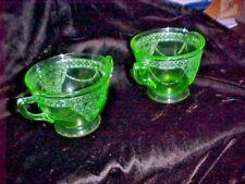 FEDERAL GLASS CO, GREEN DEPRESSION GLASS GORGAN  LOVEBIRDS, SUGAR AND CREAMER