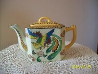 Teapot With Lid Bird Floral Pattern Porcelain Ceramic Made In Japan