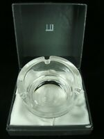 VINTAGE ALFRED DUNHILL HEAVY ROUND CRYSTAL CIGARETTE ASHTRAY IN ORIGINAL BOX