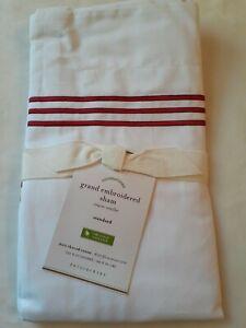Pottery Barn Grand Pillow Sham Standard Organic Cotton White Red Stripe