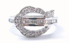 18Kt Round & Baguette Multi Shape Diamond White Gold Ring .60CT