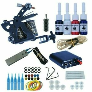 Tattoo Kit Set Complete Rotary Guns Machine 8 Wrap Power Supply Grip Tip Needle