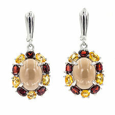 NATURAL 14X10MM SMOKY QUARTZ GARNET CITRINE OVAL CAB STERLING SILVER 925 EARRING