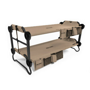 Disc-O-Bed Kid-O-Bunk Bench Bunked Double Cot with Organizers, Tan (Open Box)