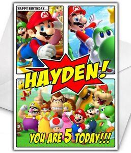 SUPER MARIO COMIC Birthday Card - Personalised - Mario Birthday Card - NIntendo