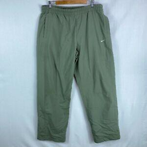 Nike Size L Mens Gray Pants Track Elastic Waist Pockets Logo Appliqued Pull On
