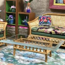 Dollhouse miniature table coffee rattan table w/real beveled glass - 1:12 scale