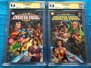 JLA: Created Equal #1-2 set - DC - CGC SS 9.6 9.8 - Signed by Ty Kevin Maguire