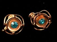 Vintage Delma Gold Toned Screw Back Clip On Earrings w/ Aquamarine Rhinestone