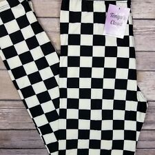 Plaid Checkered Flag Leggings Black White Buttery Soft ONE SIZE OS