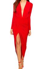 JOHN ZACK PLUNGE V FRONT RED MAXI DRESS