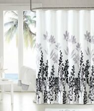 Mirage Black Gray White Floral Flowers Fabric Bathroom Shower Curtain