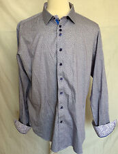 Mens Au Noir Dress Shirt Sz 7 3XL Purple White Contrasting Flip Cuffs