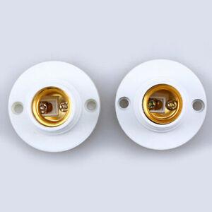 2 Pcs E14 Lamp Holder Plastic Base Light Bulb Pendant Adapter Converter White