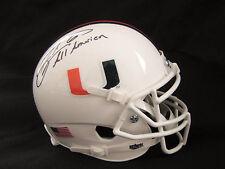 "Santana Moss University of Miami Autographed Mini Helmet with ""All American"" Ins"