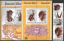 "1989 ""Indonesia"" WWF, Monkeys, Orang Utan complete set+2 Sheets VF/MNH! CAT 190$"