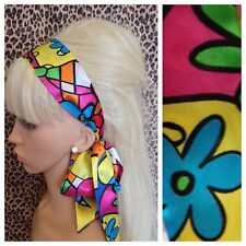 FLOWER POWER SATIN HAIR SCARF HEAD BAND SELF TIE BOW 60s RETRO STYLE FANCY DRESS