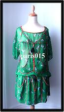 ISABEL MARANT green floral silk skirt size 1 jupe soie verte imprimé floral T 1