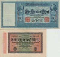 100 Mark 1910 very large bank note and 20,000 Mark 1923 German Bank notes