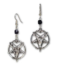 Baphomet Goat Head Inverted Pentagram Silver Finish Dangle Earrings #1049