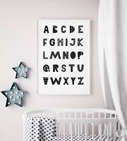 Scandinavian Alphabet Print For Boys / Girls Bedroom Nursery / Kids Scandi Decor