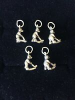 Vintage Sterling Silver Bear Charms Lot Of 5 Teddy Bear Playing Hockey Petite