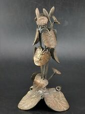 More details for japanese bronze art flower and leaf candle holder stand meiji period