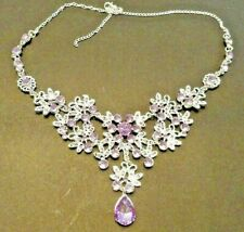 "Fashion Jewelry Enamel RHINESTONE CRYSTAL LAVENDER FLOWERS Raindrop 18""Necklace"