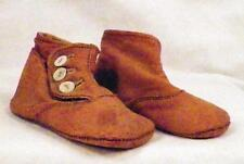 Victorian Childs Shoes High Top Kid Leather Brown Doll Edwardian Shell Buttons N
