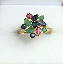 14k Solid Yellow Gold Cluster Flower Ring, Mix Ruby Sapphire Emerald, Size6.75
