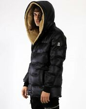 Men's Leather Inflatable Coat Furry Hooded New In Store