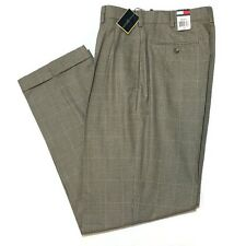 Tommy Hilfiger Glen Plaid Pleated Pants 32 x 32 Cuffed Cotton Trousers New
