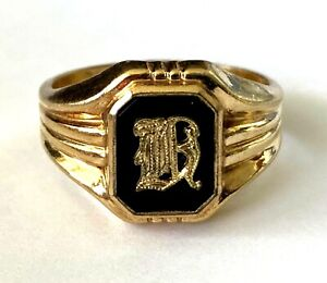 Vintage C&C Clark and Coombs GAY 10K Gold Filled Initial Letter Ring Size 8.75