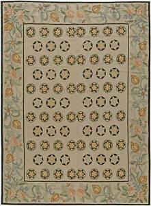 Contemporary Bessarabian Floral Light Red, Green and Beige Carpet N11028