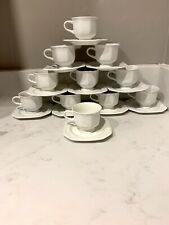 "Mikasa Continental White Octagonal Footed 3"" Cup/6"" Saucer Set, #F3000"