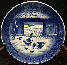 1969 Royal Copenhagen Christmas Plate - Geese in Snow-Covered Courtyard
