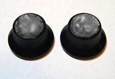 Guitar Hardware METAL TOPHAT Skirt KNOBS - BLACK SMOKE PEARL TOP - Set 2 - BLACK