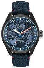 .Citizen Aw2037-04W Spiderman Heroes Men's Watch Blue/Grey Stainless Capt Marvel