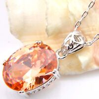 European Retro Shaped Honey Champange Topaz gemstone Silver Necklace Pendant